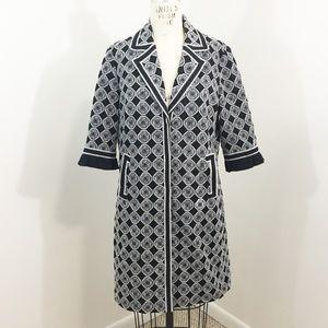 T Tahari Embroidered Coat Geometric Mid Length M